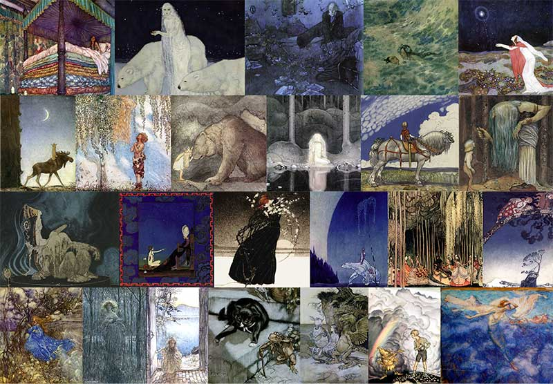 Pinned for later from artpassions.net:  Top Row: Edmund Dulac - Real Princess, Dreamer of Dreams, Entymologist's Dream, Little Mermaid, Stealers of Light.  Second Row: John Bauer - Leap the Elk, He Found Her Hiding in a Tree, Princess Tuvstarr, Into the Wide World, You Mean This Herb?  Third Row: Kay Nielsen - Three Trolls, Scheherazade, Story of a Mother, East o' the Sun West o' the Moon, Twelve Dancing Pricesses, Far Far Away  Bottom Row: Arthur Rackham - Unpublished Fairy, Fair Helena, Undine at the Door, Poor Cecco, Alice in Wonderland, King of the Golden River, Alpine Rest