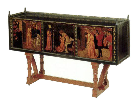 St. George cabinet, designed by Philip Webb and painted by William Morris