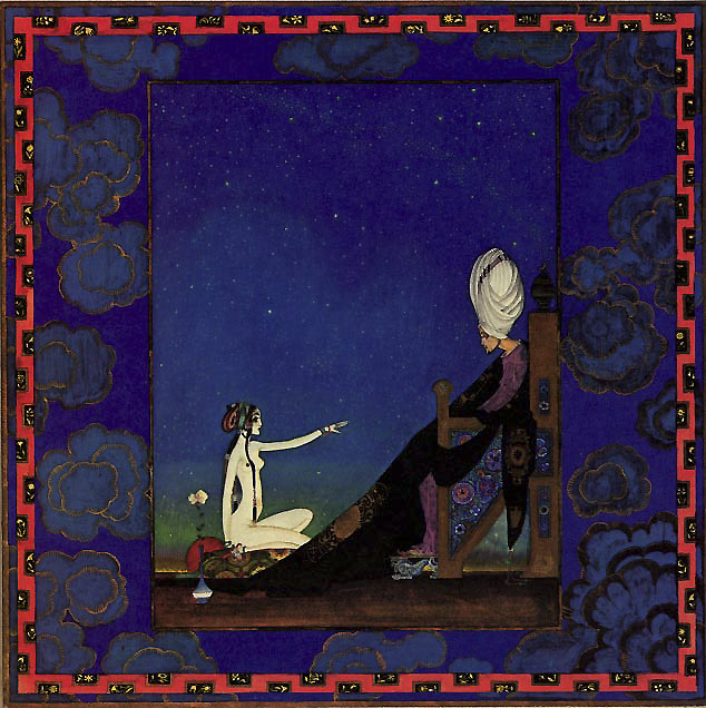 Scheherazade offers to marry the Sultan, Kay Nielsen Arabian Nights
