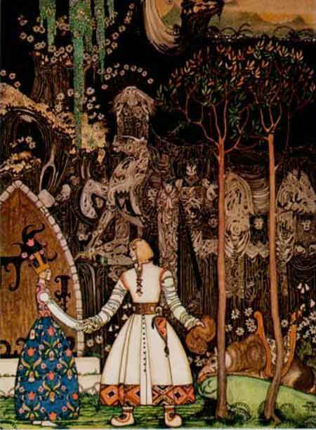 Kay Nielsen illustration to Fairy Tales of Hans Christian Andersen: The Wolf is Waiting