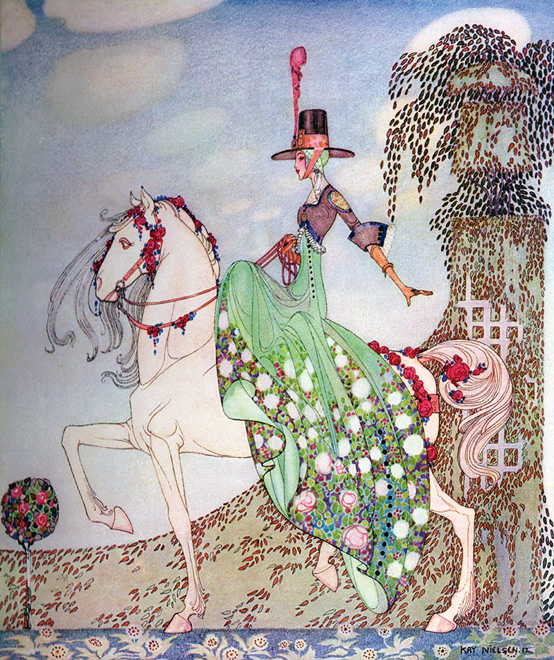 Kay Nielsen, In Powder and Crinoline: Princess Minon-Minette rides out in the world to find Prince Souci'